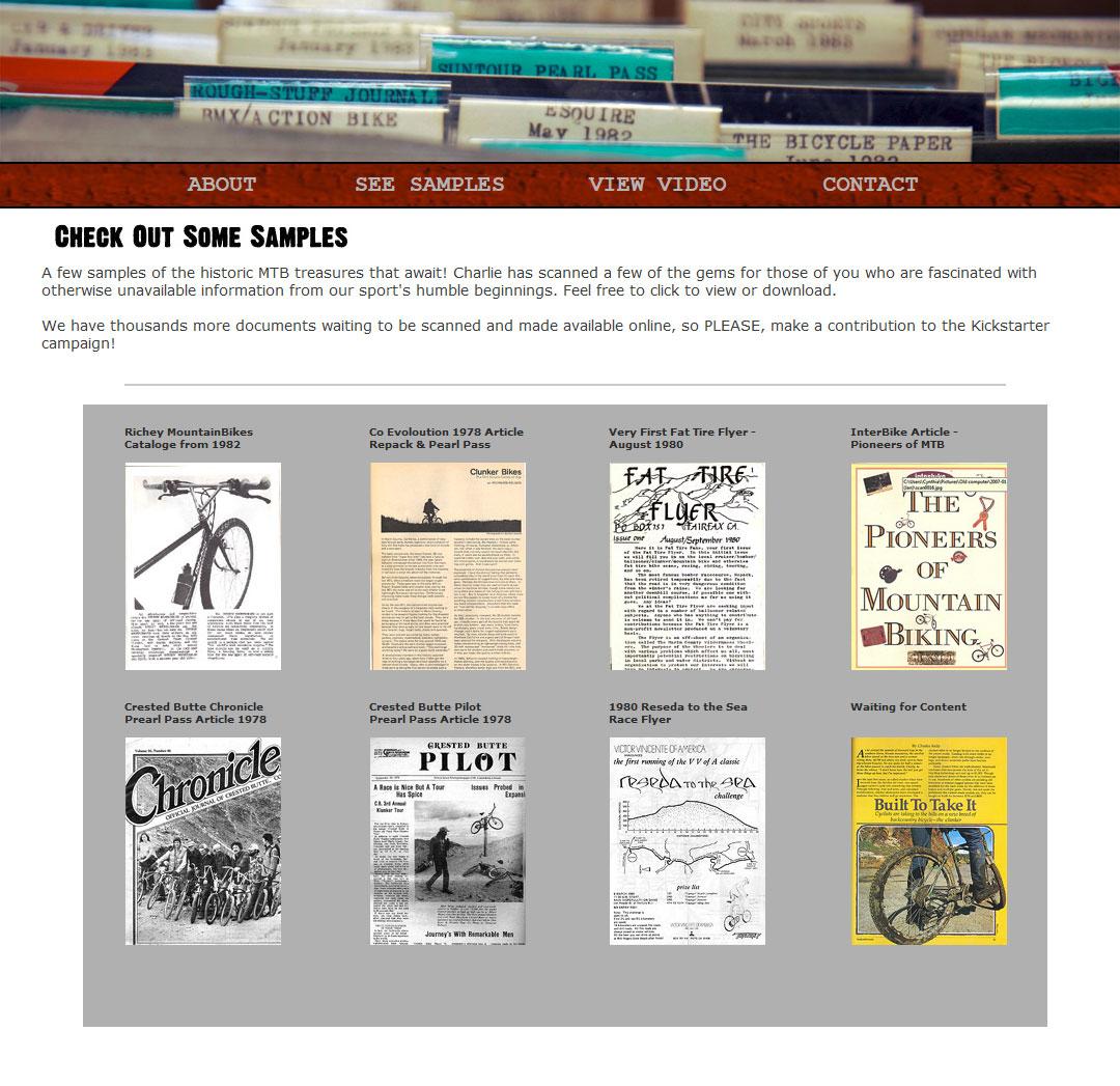 La pagina del sito web con alcuni esempi di documenti scansionati. - Copyright mountainbikelegacy.com